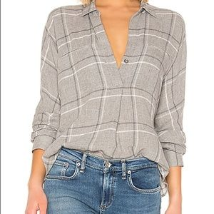 Vince Bar Plaid Grey Flannel Shirt 👕